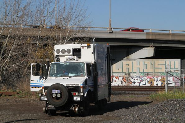 Speno ultrasonic rail flaw detector truck back onto the road at West Footscray