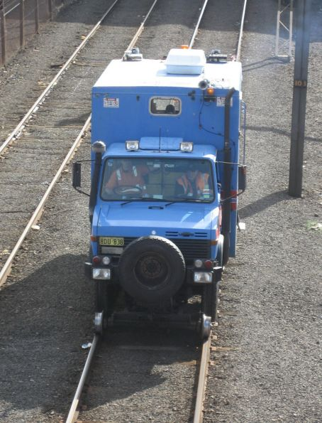 Speno ultrasonic rail tester truck at North Melbourne