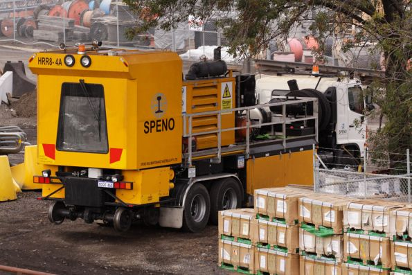 Speno HRR8-4A, a truck based turnout and switch grinder