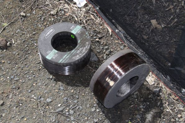Top and side view of new grinding wheels