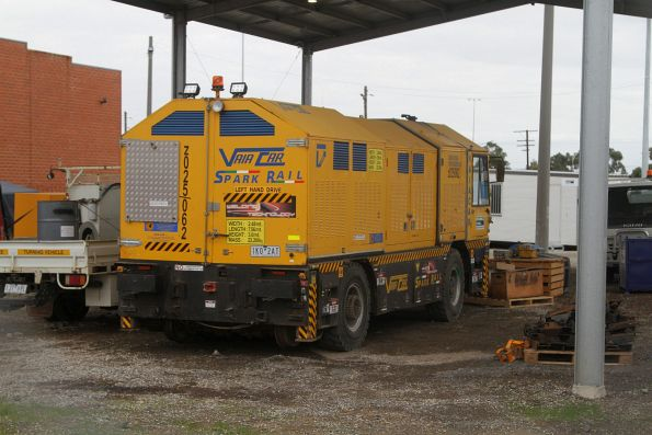 Vaia Car flash butt rail welder parked at the McConnell Dowell depot at McIntyre Loop