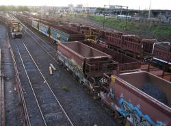 Ballast and sleeper discharge wagons stabled in the Wagon Storage Yard