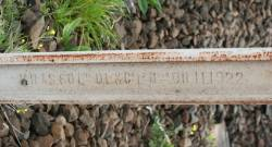 Reverse side of 1888 VR Krupp rail - 'VR AS 60 Lbs D.L & Co Lt Mdfg OH 11 1922'