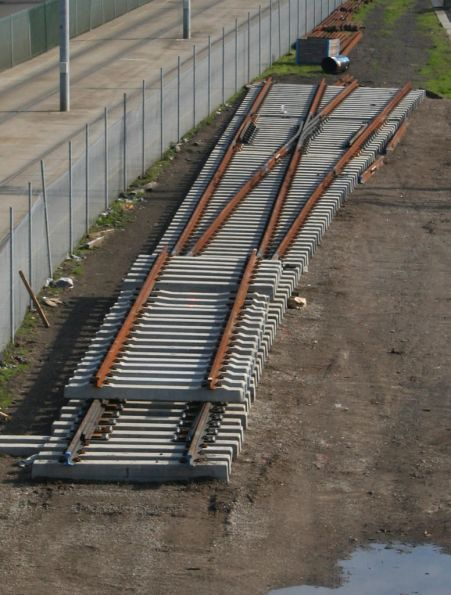 New concrete set of points awaiting installation at Richmond Junction