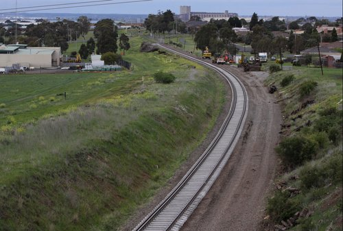 Freshly resleepered track at Bell Post Hill