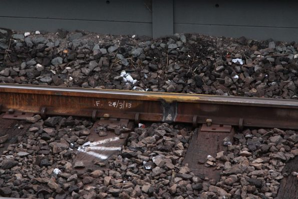 Date marked beside a fresh rail weld: 24/3/2013