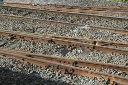 Rusted over rails on the little used crossover tracks at North Melbourne Junction