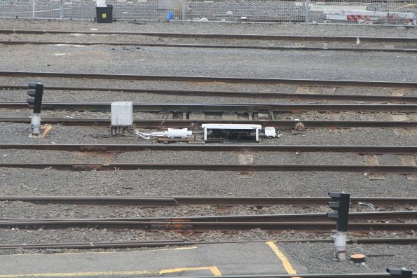 LED signals and pneumatic point motors in the suburban train stabling sidings at Melbourne Yard