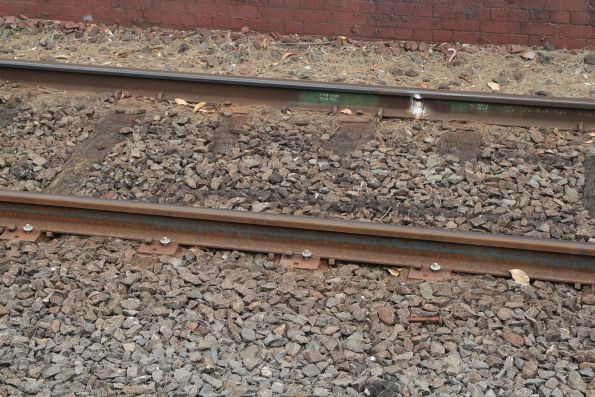 Coach bolts used to fix rail to timber sleepers at Clifton Hill