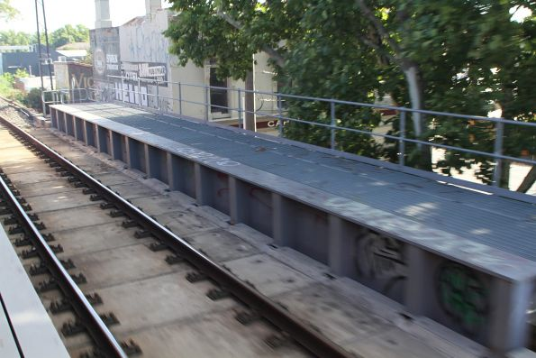 Rails directly fixed to the bridge deck at Langridge Street, North Richmond