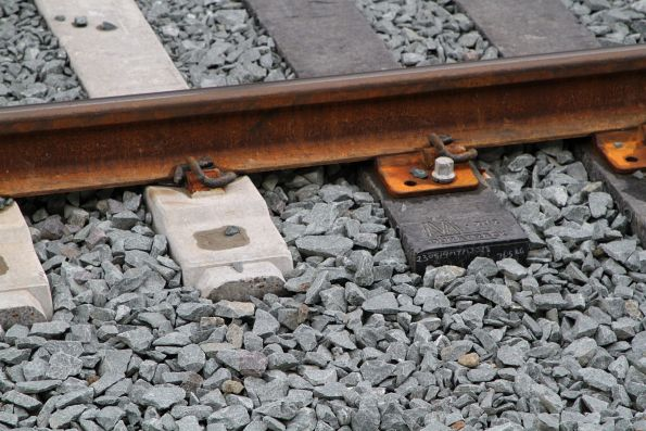 Transition between Duratrack composite plastic sleepers and concrete in the Punt Road bridge deck at Richmond platform 2