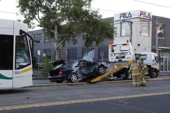 Tram vs car on Nicholson Street, February 2012