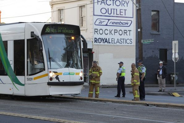 MFB and Victoria Police check out the damaged tram