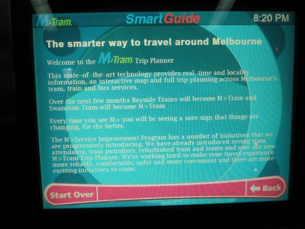 M>Tram branded SmartGuide journey planner at a tram stop