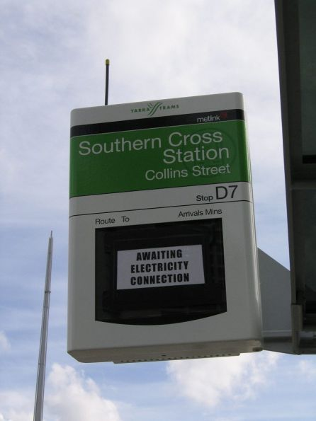 SmartGuide display awaiting commissioning at the tram stop outside Southern Cross Station on Collins Street