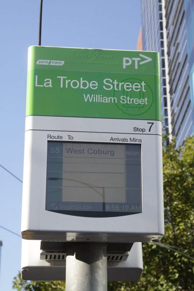 Yarra Trams SmartGuide tram display rebranded as 'PTV'