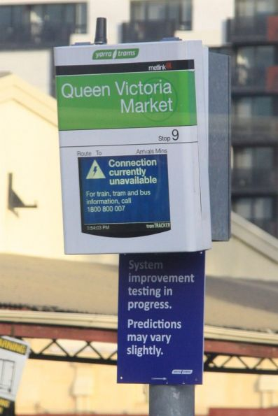 Tram stop PIDs, testing out the new TramTracker software