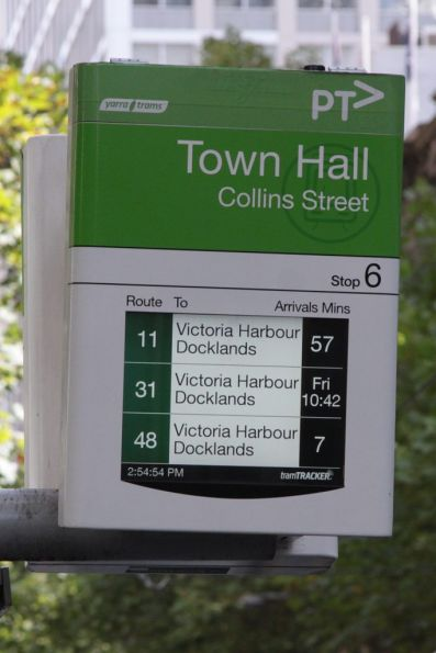 Useless next tram information for route 31 trams displayed by TramTracker on Collins Street