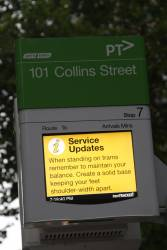 Yarra Trams abusing the 'service updates' feature of the TramTracker PIDS for trivial safety messages