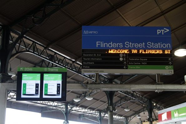TramTracker screens for the Federation Square tram stop installed at the south-east exit of Flinders Street Station