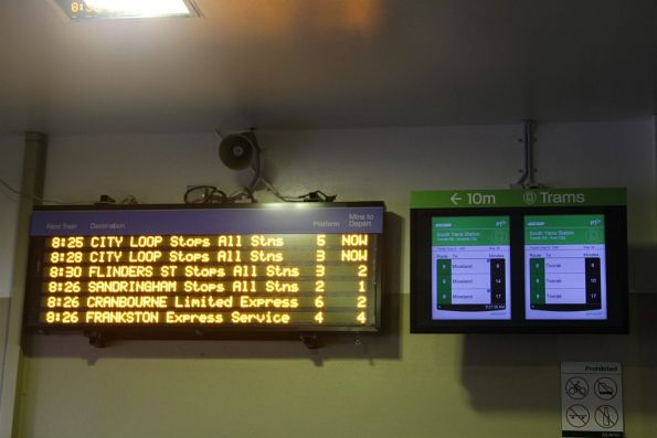 New TramTracker LCD screen installed at South Yarra, beside the LED next train display