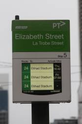 The last few inbound route 24 services still displayed on the PIDS on La Trobe Street