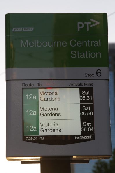 Route 12a trams for Saturday displayed on the TramTracker screens along La Trobe Street