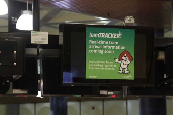 One of two new TramTracker screens installed inside the paid area at Flagstaff station