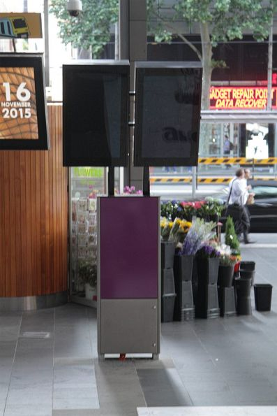 Yet to be commissioned TramTracker screens at the Spencer and Collins Street exit from Southern Cross