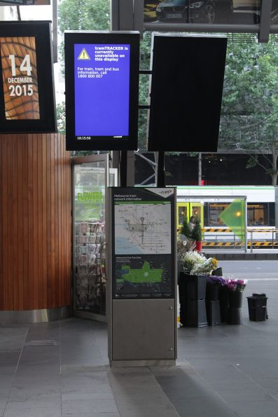 Defective TramTracker screens at the Spencer and Collins Street exit from Southern Cross
