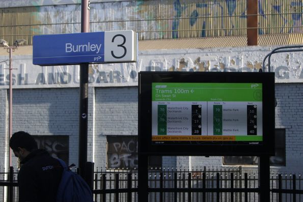 TramTracker screen at Burnley platform 3 and 4, displaying route 70 trams