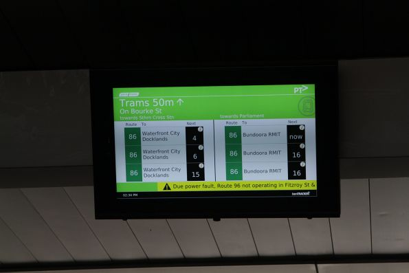 TramTracker screen above the Bourke Street bridge, displaying the next route 86 and 96 departures along Bourke Street
