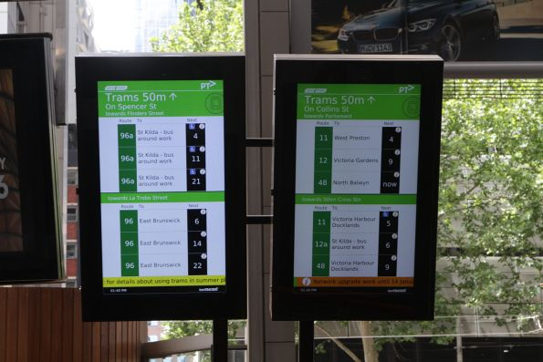 Working TramTracker screens at the Spencer Street exit from Southern Cross