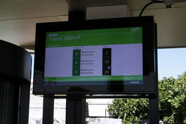 TramTracker screen at Glen Iris station for route 6 trams