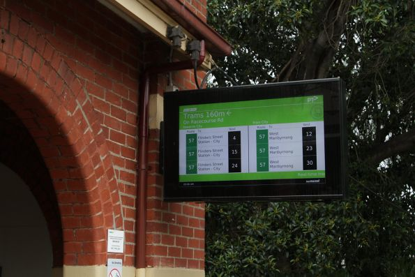 TramTracker screen at Newmarket station for route 57 trams on Racecourse Road