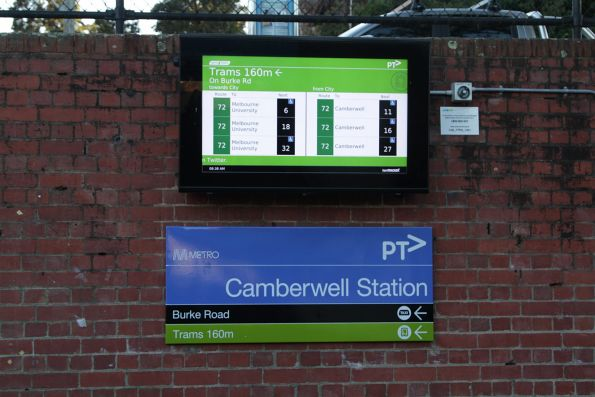 TramTracker screen at Camberwell station for route 72 services
