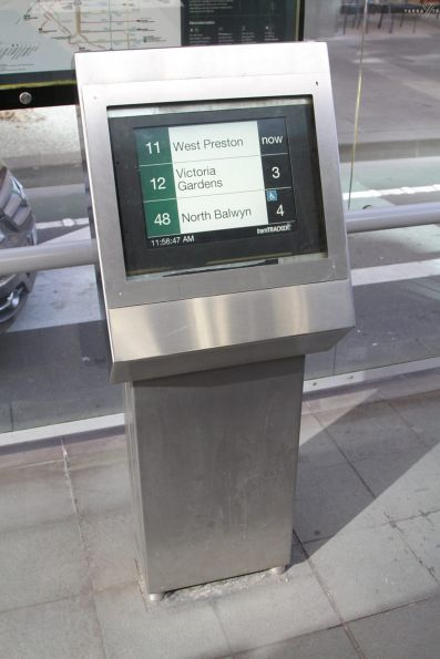 TramTracker screen retrofitted into a SmartGuide PIDS unit at Collins and Spring Street