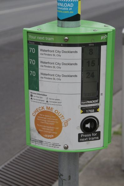 TramTracker MiniPIDS screen at tram stop on route 70