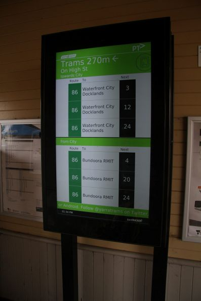 TramTracker screen for route 86 services at Westgarth station