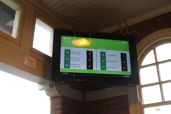 TramTracker screen at Caulfield platform 4 displaying services on route 3