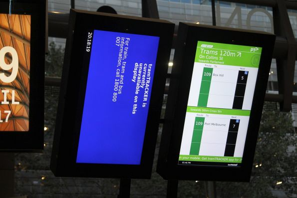 Defective TramTracker screen at Southern Cross Station