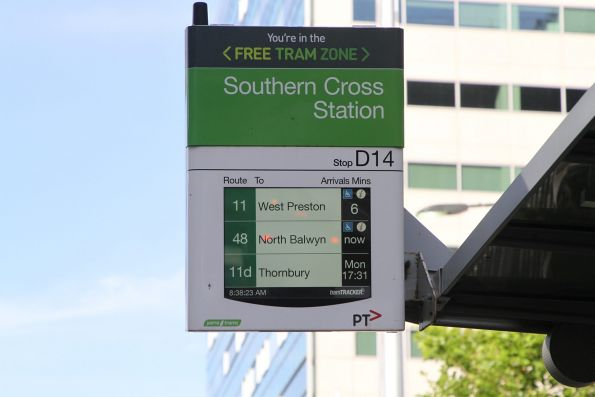 If you're happy to wait, the next route 11d service from Southern Cross Station is four days away