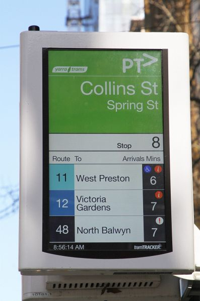New style TramTracker screen updated to use tram route colours