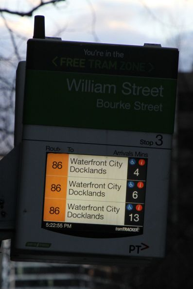 Original style TramTracker screen updated to use tram route colours