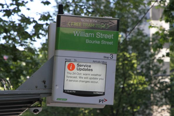 Pointless 'Warm weather forecast. We will update you if service changes occur' message on a TramTracker screen