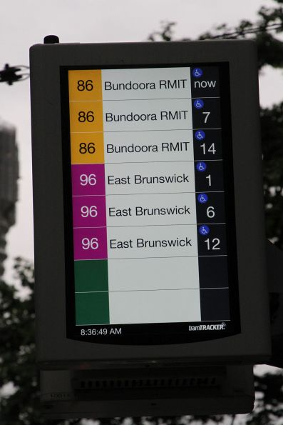 New style TramTracker screen updated to show more services, and exclude the tram stop name