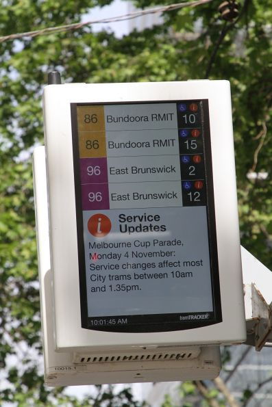 Melbourne Cup Parade service disruption notice on a new format TramTracker screen