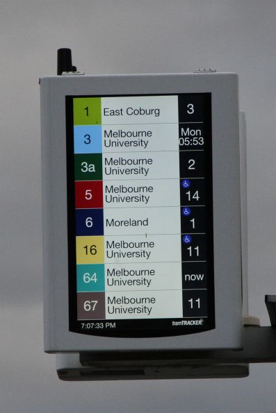 New style TramTracker screen updated to show almost every route down Swanston Street, and exclude the tram stop name