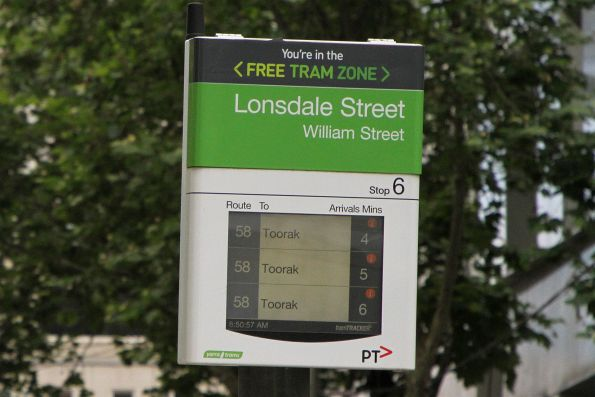 Next southbound route 58 trams: 4, 5 and 6 minutes away