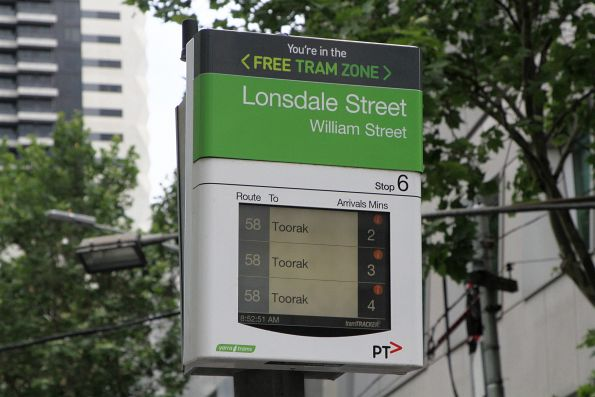 Next southbound route 58 trams: 2, 3 and 4 minutes away